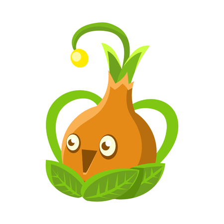 Cute fantastic orange plant character shape of a bulb, nature element cartoon vector Illustration 向量圖像