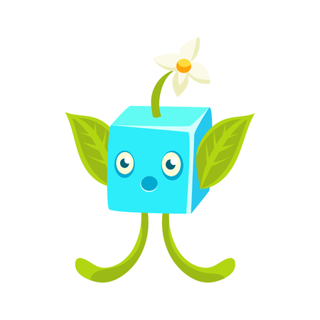 Cute fantastic plant character square shape, nature element cartoon vector Illustration isolated on a white background