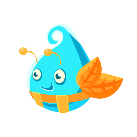 Cute fantastic turquoise plant character in the form of an egg, nature element cartoon vector Illustration Illustration