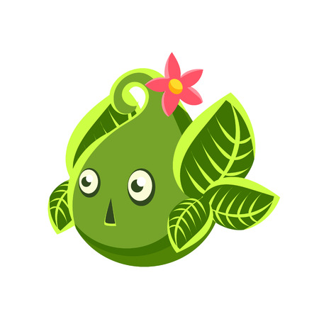 Cute fantastic green plant character in the form of an egg, nature element cartoon vector Illustration isolated on a white background Иллюстрация