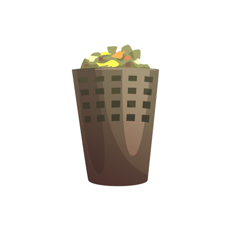 Indoor trash bin, waste processing and utilization cartoon vector Illustration isolated on a white background Illustration