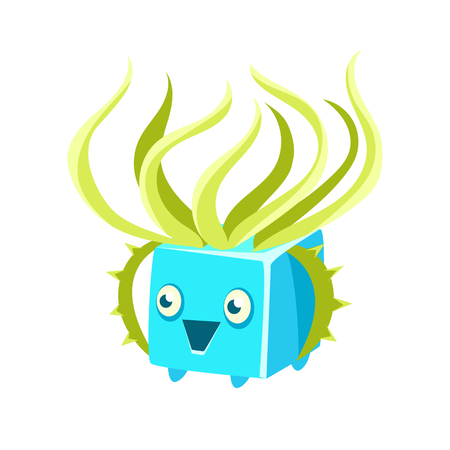 Cute fantastic turquoise plant character square shape, nature element cartoon vector Illustration isolated on a white background Illustration
