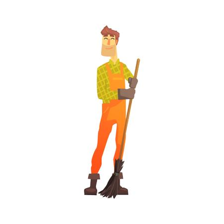 Cartoon straatveger op het werk, straatveger karakter vectorillustratie geïsoleerd op een witte achtergrond