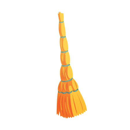 Retro cleaning and dusting broom cartoon vector Illustration isolated on a white background Illustration