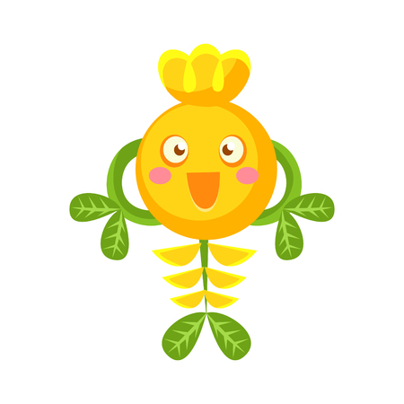 Cute fantastic smiling yellow plant character, nature element cartoon vector Illustration isolated on a white background Illustration
