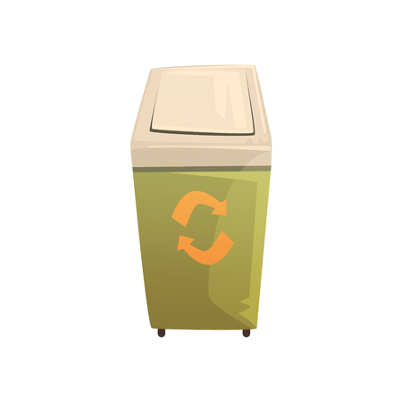Garbage wheelie bin with lid, waste processing and utilization cartoon vector Illustration isolated on a white background 向量圖像