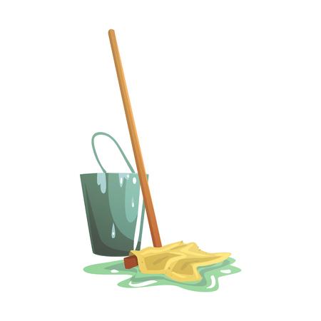 ほうきやモップの漫画のベクトル図は、白い背景で隔離バケツと床のクリーニング
