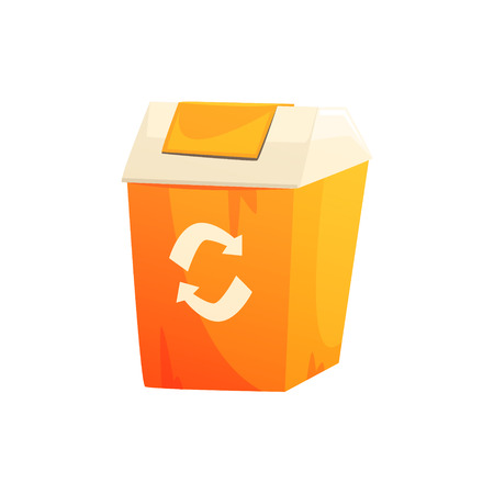 Orange garbage can with recycling sign, waste processing and utilization cartoon vector Illustration isolated on a white background