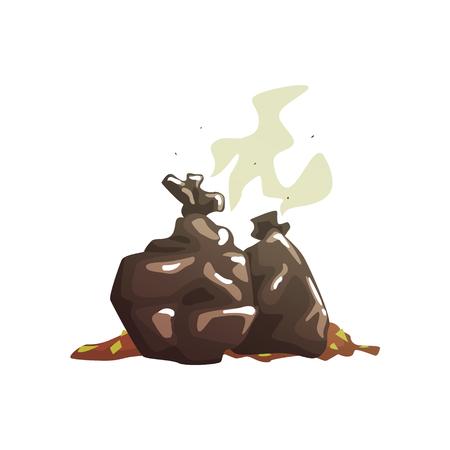 Sacs poubelle noirs avec pourriture des ordures, traitement de bande dessinée et utilisation de vecteur de dessin animé Illustration isolé sur fond blanc Banque d'images - 81305301