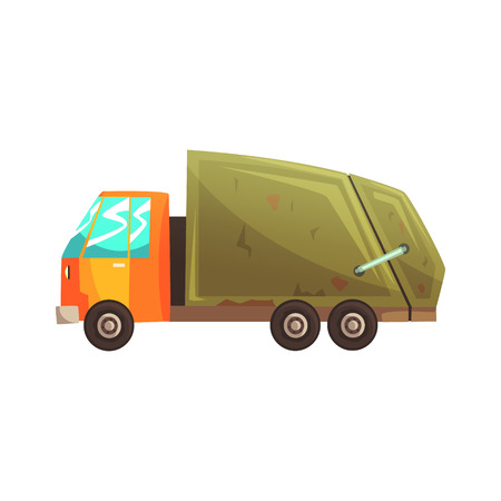 Garbage truck, waste recycling and utilization cartoon vector Illustration isolated on a white background