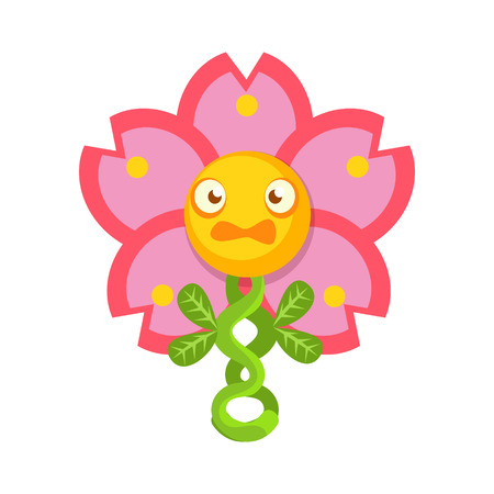 Cute fantastic pink flower plant character, nature element cartoon vector Illustration isolated on a white background