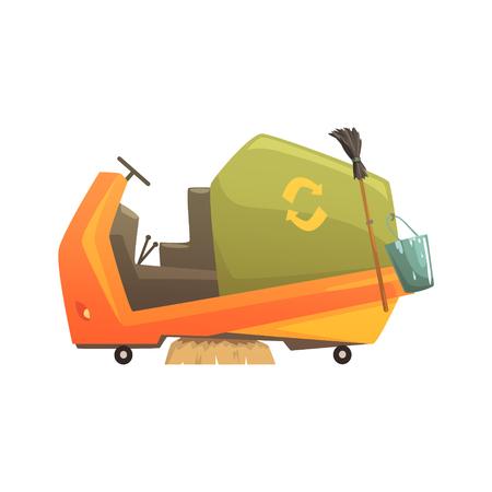 Moderne Straßenfeger LKW, Abfallverarbeitung und Nutzung Cartoon Vektor Illustration auf einem weißen Hintergrund Standard-Bild - 81305303