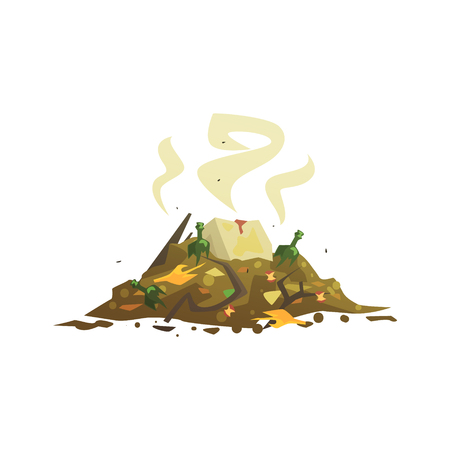 Pile of decaying garbage, waste processing and utilization cartoon vector Illustration isolated on a white background