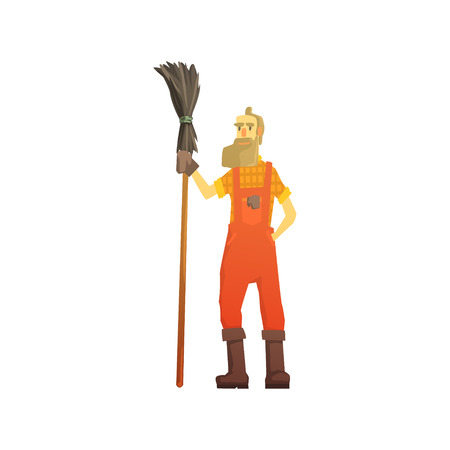 Cartoon hipster street sweeper in orange uniform at work, street cleaner character vector Illustration isolated on a white background