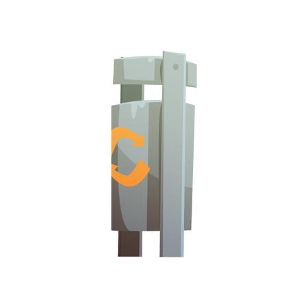 Poubelle publique en métal, traitement des déchets et utilisation vecteur de dessin animé Illustration isolée sur fond blanc Banque d'images - 81305172