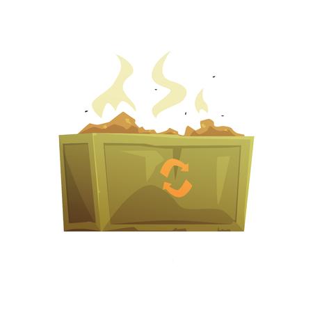 Grote kaki en oranje vol vuilnis, afvalverwerking en gebruik cartoon vector illustratie geïsoleerd op een witte achtergrond Stock Illustratie