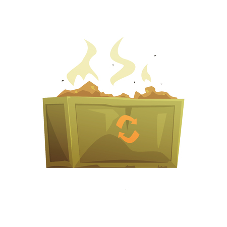 Large khaki and orange full of rubbish, waste processing and utilization cartoon vector Illustration isolated on a white background