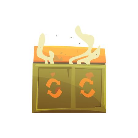 대형 카키색과 오렌지색 wheelie bin 쓰레기, 폐기물 처리 및 활용의 전체 만화 벡터 일러스트 레이 션 흰색 배경에 고립