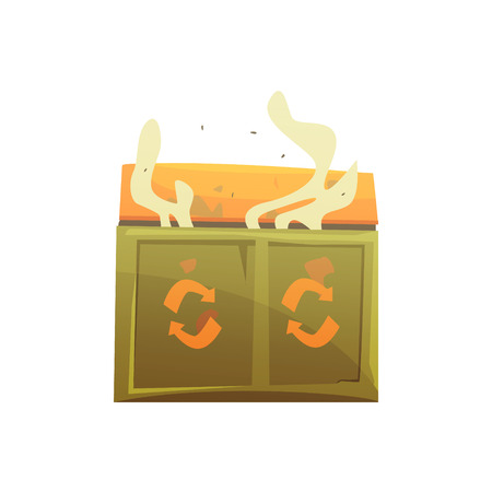 Large khaki and orange wheelie bin full of rubbish, waste processing and utilization cartoon vector Illustration isolated on a white background Ilustração