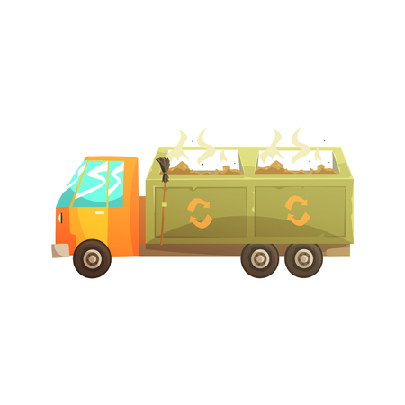 scraps: Garbage truck full of waste, recycling of garbage and utilization cartoon vector Illustration isolated on a white background
