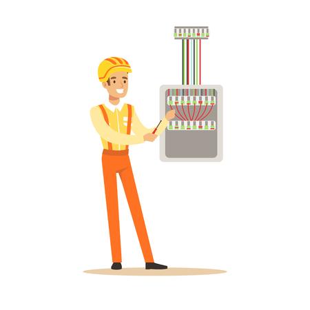 ねじ込みヒューズ ボックスの機器の電気技師の笑みを浮かべて、電気を実行する電気男作品ベクトル図