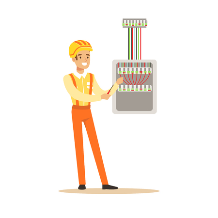Smiling electrician screwing equipment in fuse box, electric man performing electrical works vector Illustration