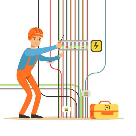 修理電気発電所、電気工事を行う電気男の制服で電気エンジニア ベクトル イラスト  イラスト・ベクター素材