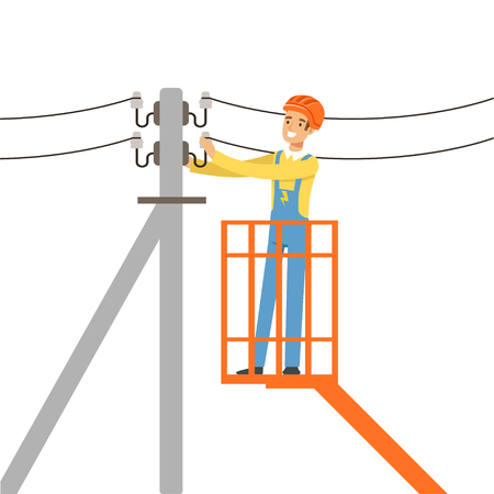 Electrician repairing wire of the power line with bucket hydraulic lifting platform, electric man performing electrical works vector Illustration Иллюстрация