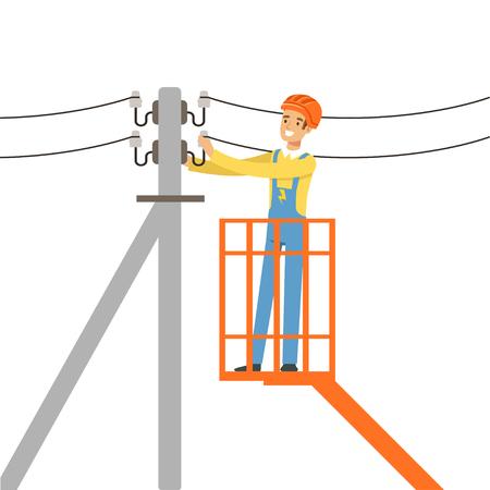 Electricista que repara el alambre de la línea de alimentación con la plataforma de elevación hidráulica del cubo, hombre eléctrico que realiza el trabajo eléctrico vector