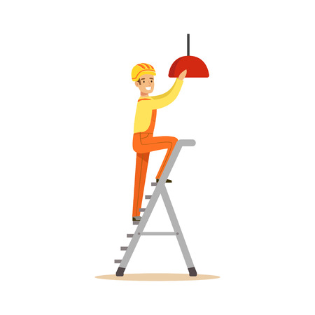 Electrician standing on a stepladder installing lighting on the ceiling, electric man performing electrical works vector Illustration