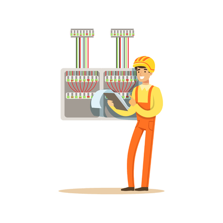checking: Electrician standing with documents checking electrical equipment, electric man performing electrical works vector Illustration