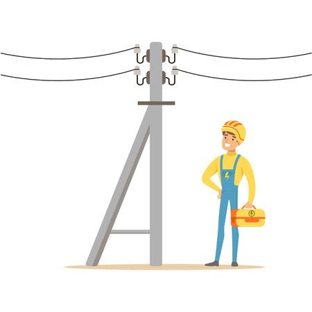 電気工事電気工事を行う電気男電気電柱に取り組んでベクトル イラスト  イラスト・ベクター素材