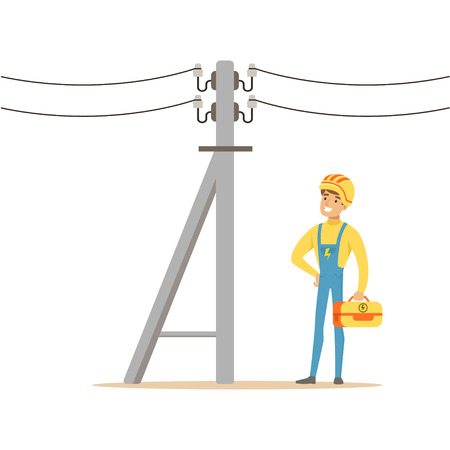 Electrician working on electric power pole, electric man performing electrical works vector Illustration