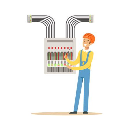Ingeniero electricista que atornilla el equipo en la caja de fusibles, hombre eléctrico que realiza el trabajo eléctrico vector