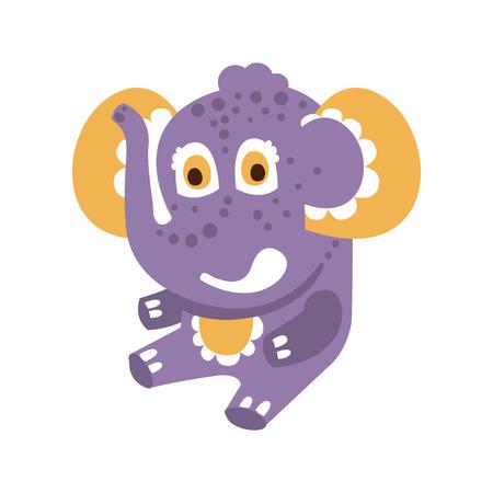 Cute cartoon baby elephant character sitting on a floor vector Illustration