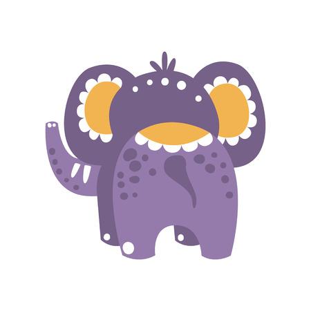 Cute cartoon elephant character back view vector Illustration Illusztráció