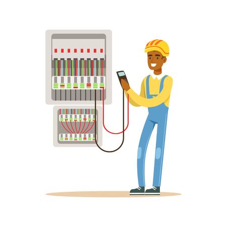 Elektricieningenieur die de voltagemotor in zekeringkast meten, elektrische mens die elektro de werken vectorillustratie uitvoeren Stock Illustratie