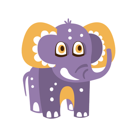Cute cartoon baby elephant character front view vector Illustration