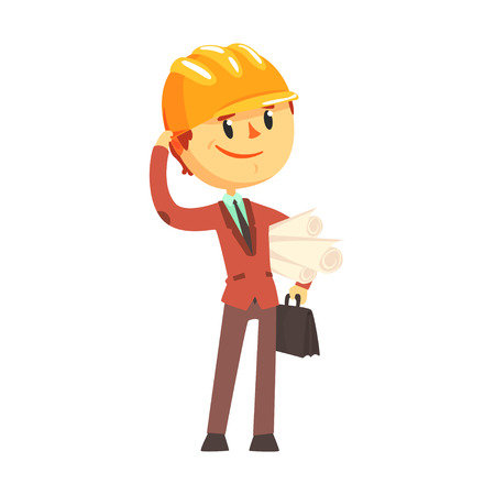 Architect builder in hard hat holding paper rolls cartoon character vector Illustration