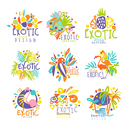Exotic, tropical summer vacation set of   graphic templates