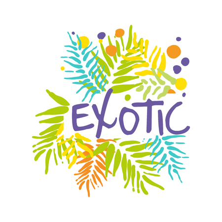 Exotic logo with palm leaves, summer vacation colorful hand drawn vector Illustration