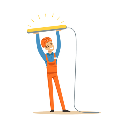 蛍光ランプをインストールする制服の電気技師の笑みを浮かべて、電気を実行する電気男作品ベクトル図
