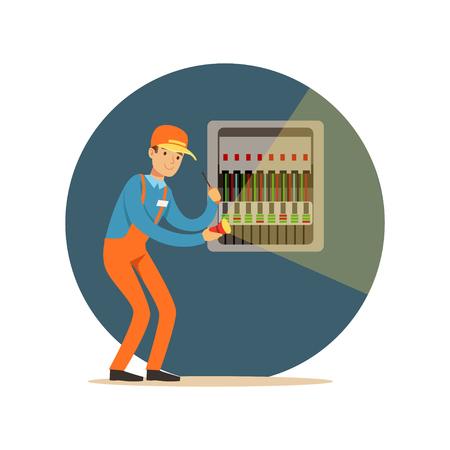 Elektricien ingenieur reparatie van apparatuur in zekering doos met zaklamp, elektrische man uitvoeren elektrische werken vector illustratie