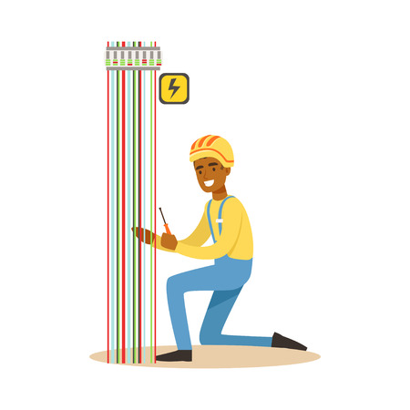Electrician engineer repairing electricity power station, electric man performing electrical works vector Illustration