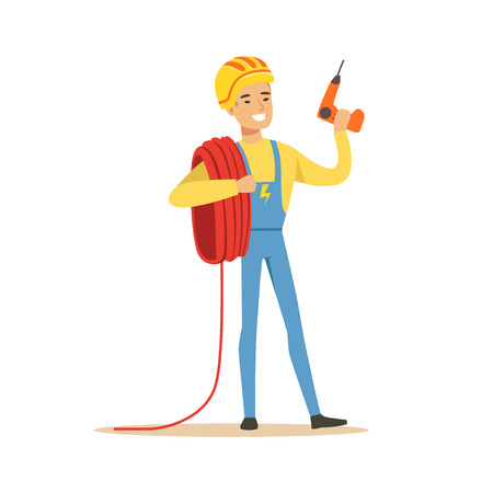 Smiling electrician in uniform holding a wire roll and a drill, electric man performing electrical works vector Illustration