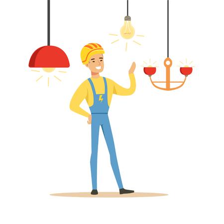 シャンデリアをインストールする制服の電気技師の笑みを浮かべて、電気を実行する電気男作品ベクトル図
