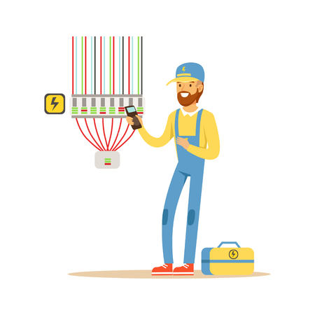 Electrician testing electrical equipment, measuring the voltage output, electric man performing electrical works vector Illustration