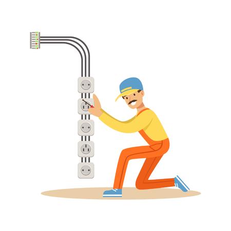 電気インストール電気機器とソケット、電気を実行する電気男作品ベクトル図  イラスト・ベクター素材
