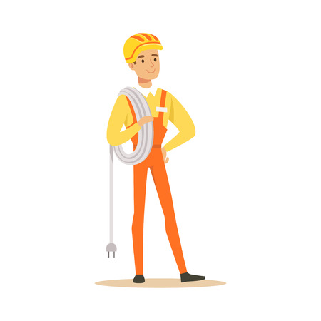 Repairman in uniform standing and holding a wire roll, electric man performing electrical works vector Illustration Ilustracja