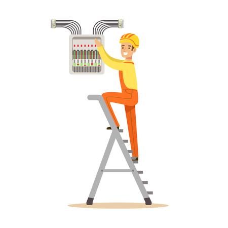 Elektricien die zich op een trapladder en een schroefend materiaal in zekeringkast bevinden, elektrische mens die elektrowerken vectorillustratie uitvoeren